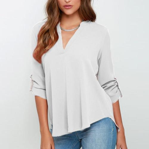 Loose-Fitting V-Neck Long-Sleeved T-Shirt