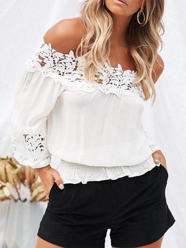 Sexy Lace One-Shoulder Strapless Loose Long-Sleeved Shirt