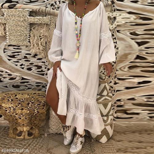 V Neck Long Lantern Sleeve Lace Patchwork Casual Maxi Dress
