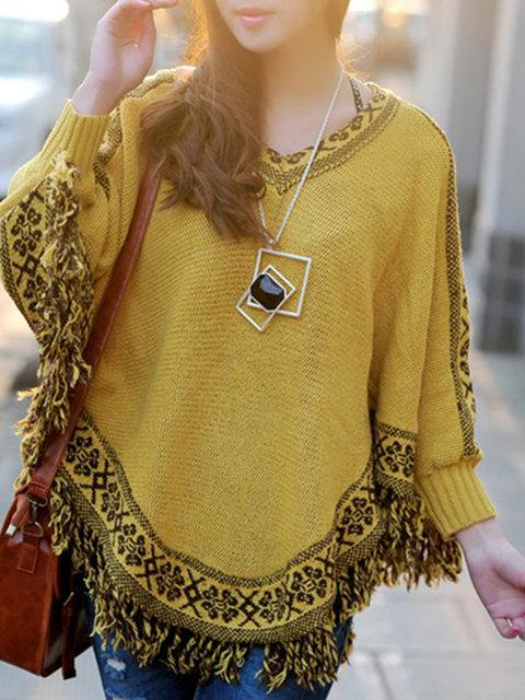 Batwing Fringed Intarsia V neck Tribal Knitted Poncho