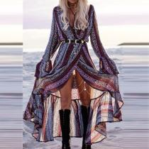 Bohemian Long Sleeve Printed Maxi Dress