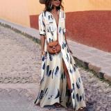 Button Down Collar Stripes Half Sleeve Maxi Dresses