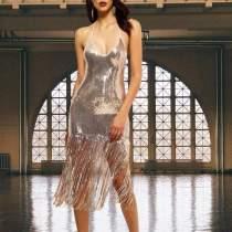 Sexy Suspender Fringed Beads Evening Dress