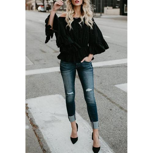 Off Shoulder Beading Plain Bell Sleeve Blouses
