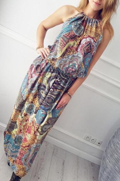Halter  Printed  Sleeveless Maxi Dresses