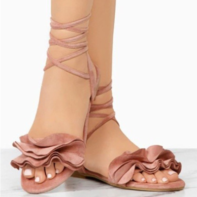 Plus Size Flower Ankle Strap Flat Sandals