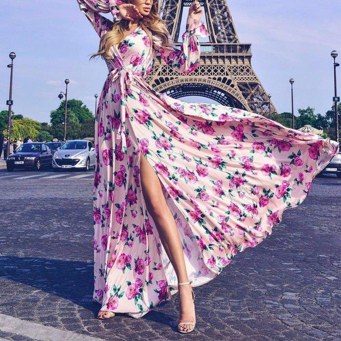Sexy Long Sleeves Floral Print Maxi Dress