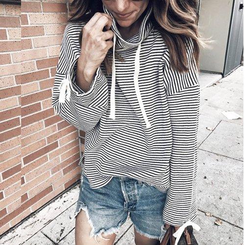 Casual Striped Turtleneck Long Sleeve Shirt