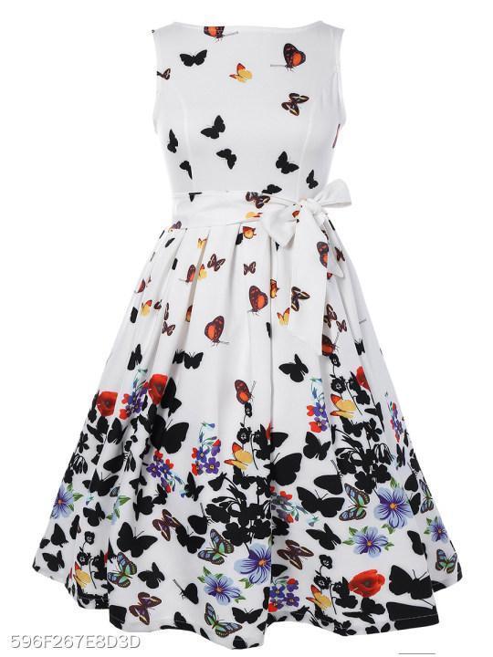 Boat Neck Bowknot Belt Animal Prints Skater Dress
