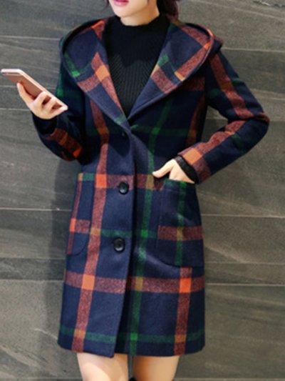 Hooded Plaid Patch Pocket Woolen Coat