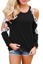 Open Shoulder  Decorative Lace  Color Block T-Shirts