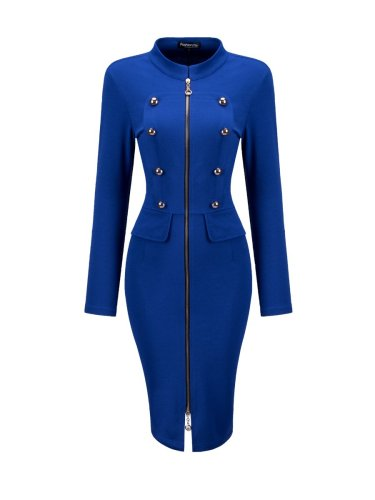 Band Collar Double Breasted Zips Plain Bodycon Dress