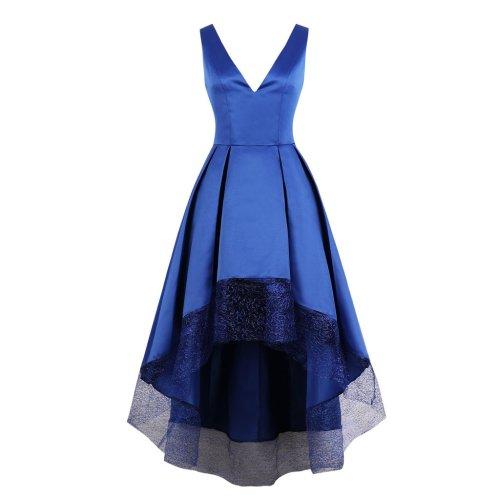 Plus Size V Neck Patchwork Women Sleeve Less Evening Dress