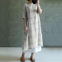 Long Sleeve Round Neck Plain Cotton/Linen Maxi Dress