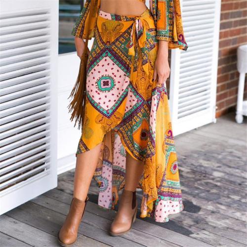 Bohemian Print Lace-up Ethnic Long Women's Skirrt