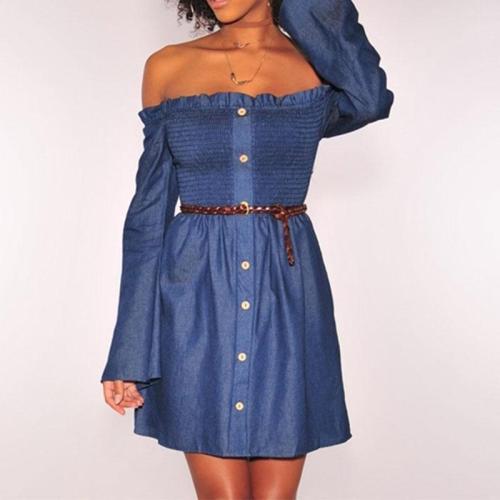 Sexy Off Shoulder Long Sleeve Denim Casual Dress