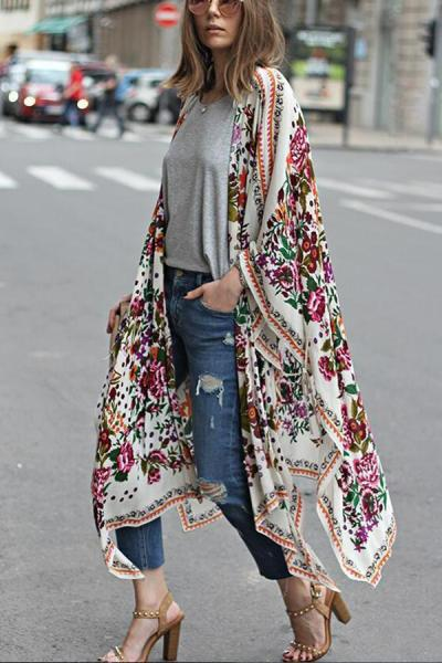 Fashion Floral Print Vacation Sunscreen Cover Ups