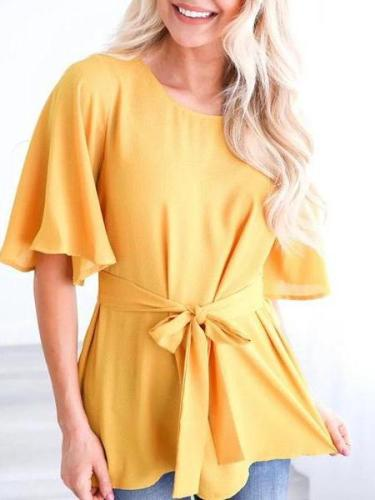 Sexy Round Collar Short Sleeve Bow Flared Sleeve Solid Color Shirt