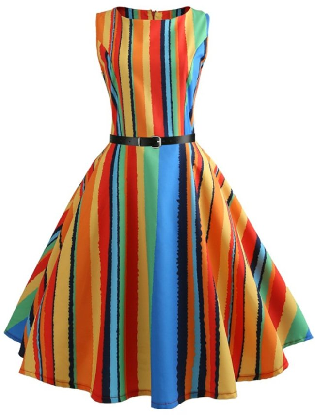 Contrast Piping Colouring Striped Vintage Dresses