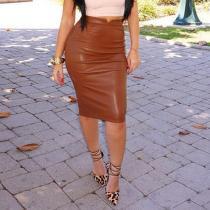 High Waist PU Fashion Plain Bodycon Skirts