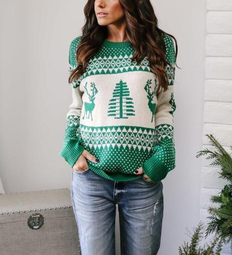 Geometric Elk Pattern Casual Sweater