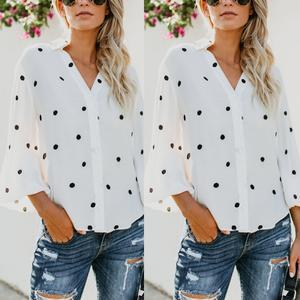 Turn Down Collar Asymmetric Hem Single Breasted Dot Blouses