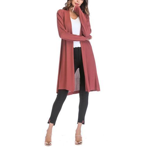 Collarless Plain Long Sleeve Cardigan