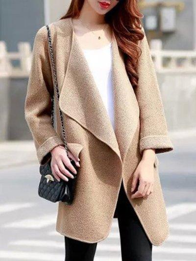 Lapel Plain Loose Knitted Coat