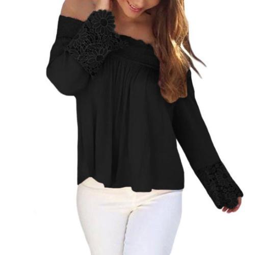 Fashion One-Neck Lace Stitching T-Shirt
