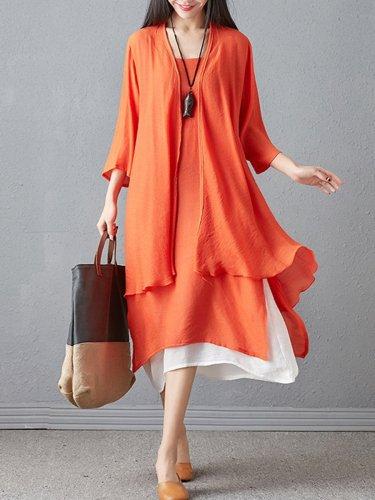 Round Neck  Asymmetric Hem  Color Block Two-Piece Maxi Dress