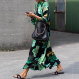 Stylish Green Floral Print Long Sleeve Maxi Dresses