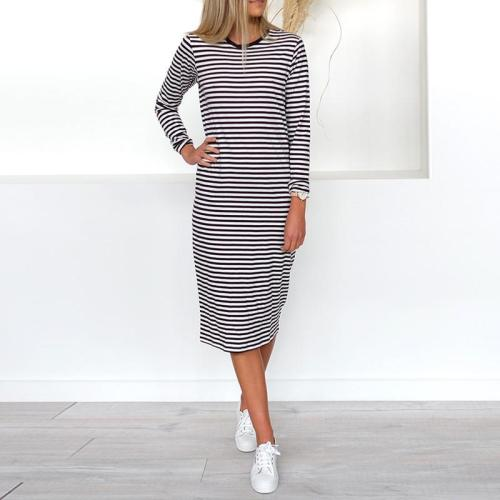Round Neck Stripes Long Sleeve Shift Dresses