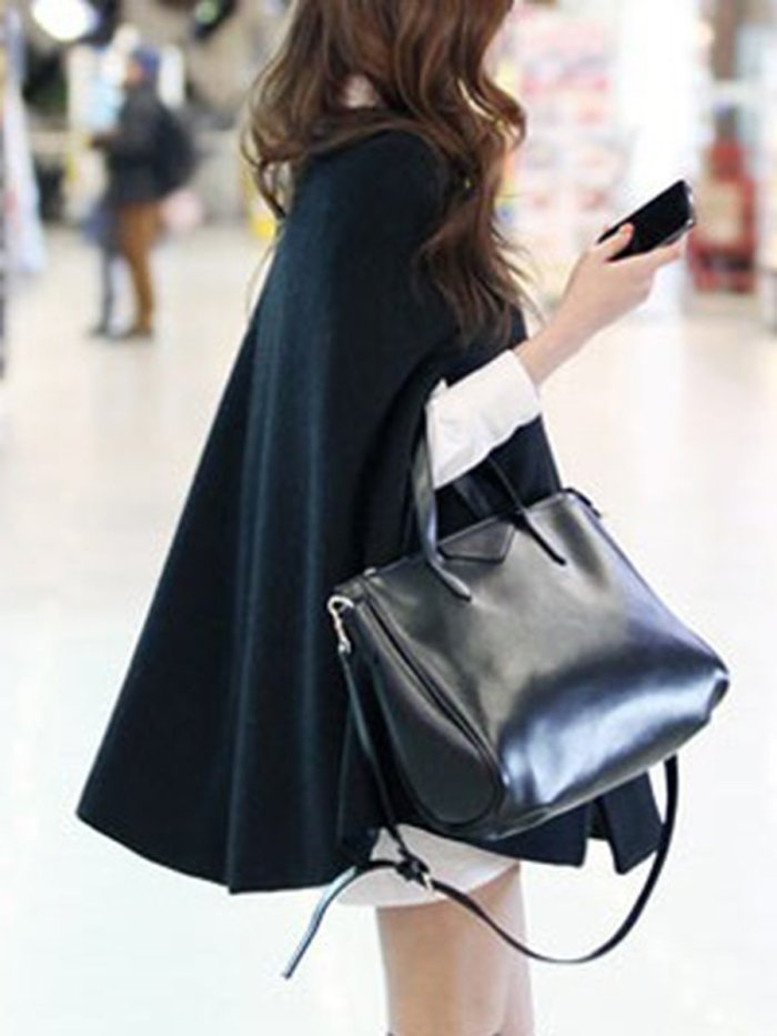 Collarless Pocket Plain Woolen Cape Sleeve Coat
