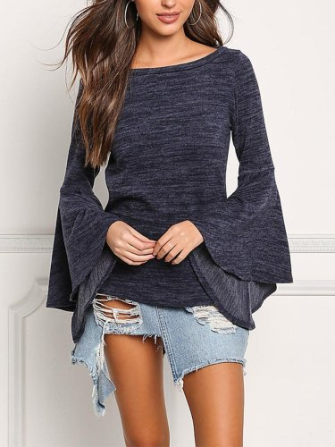 Plain  Bell Sleeve T-Shirts