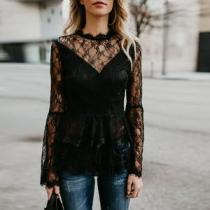 Flare Sleeve Zipper Long Sleeve Lace Blouse