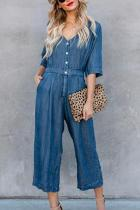 V Neck  Single Breasted  Plain  Half Sleeve Jumpsuits