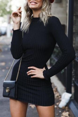 Sexy Black Long Sleeve Mini Dress Bodycon Dresses