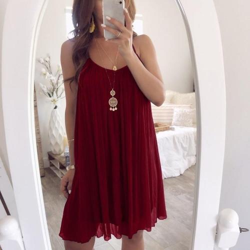 Spaghetti Straps Plain Casual Dresses