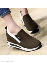 Plain Low Heeled Velvet Round Toe Casual Sneakers
