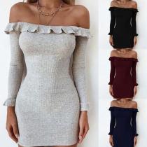 Elegant Off Shoulder Long Sleeve Knitting Bodycon Dresses