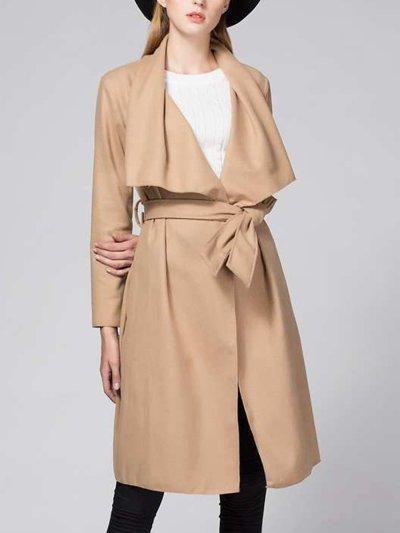 Lapel Designed Plain Woolen Wrap Coat