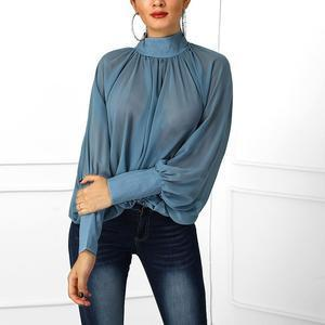 Casual Loose Stand Up Collar Bat Sleeve Pure Color Shirt
