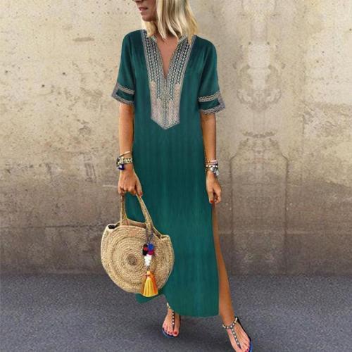 Sexy Side Split V Neck Printed Casual Dresses