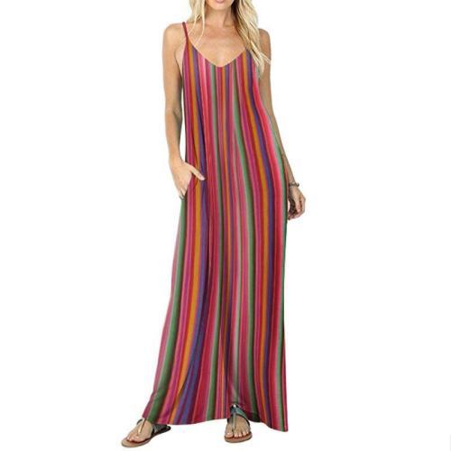 Rainbow Striped Holiday Maxi Dress