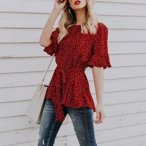 Red Wavy Point Round Collar Middle Sleeve Trim Blouses