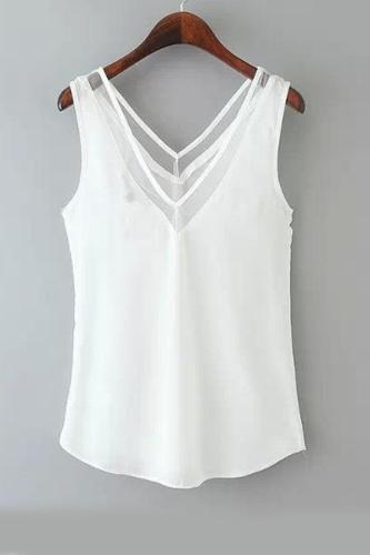 V Neck  Asymmetric Hem  Plain Vests