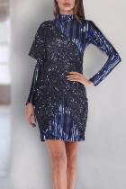 Fashion Sequined Stripe Stitching Dress