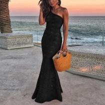 Sexy Lace One Shoulder Plain Evening Dress