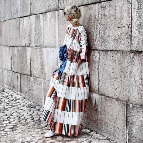 Round Neck Half Sleeve Color Block Casual Dress