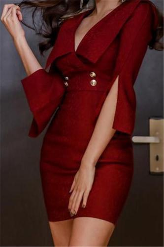 Casual Sexy V Collar   Shown Thin Mini Bodycon Dress